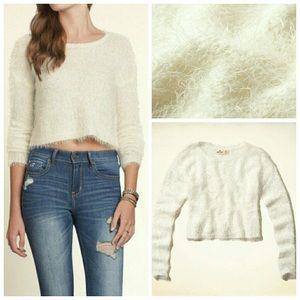 Hollister white fuzzy sweater sz L